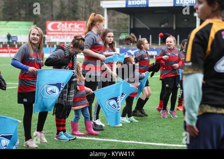 14 janvier 2018. Pontypridd RFC, le Pays de Galles. Cardiff Blues Mesdames match contre Ospreys Mesdames. Score Banque D'Images