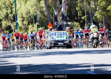 Adélaïde, Australie. 17 janvier, 2017. Le peloton sur le point de commencer l'étape 2 du Tour Down Under cycliste Banque D'Images