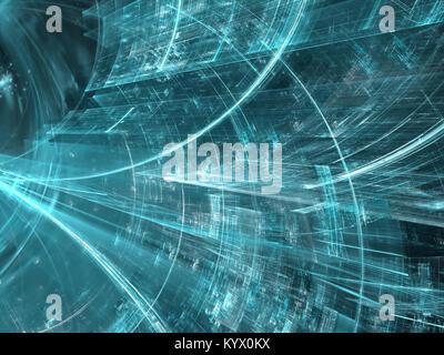 Tunnel de la technologie - ordinateur abstrait-image générée. L'art numérique: surface interne de la structure Banque D'Images