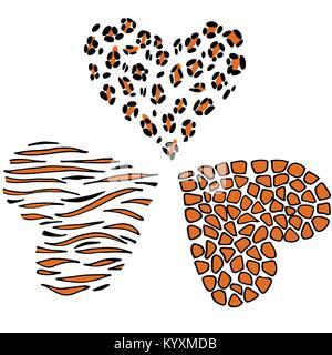 Vector cœur Léopard, tigre, girafe. Banque D'Images