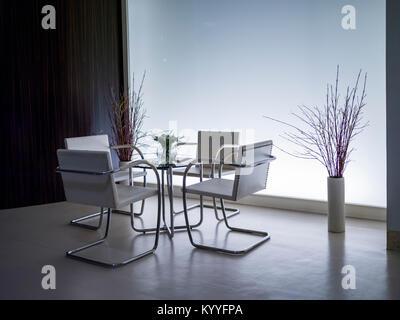 Table et chaises, de la Villa Tugendhat, Brno, République Tchèque Banque D'Images