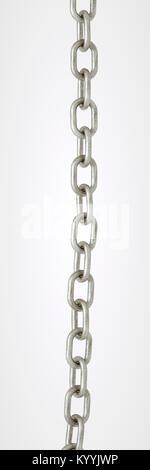 Longueur droite de chaîne en métal galvanisé sur un fond blanc Banque D'Images