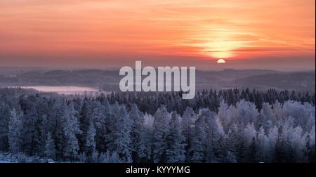 Paysage d'hiver glacial avec arbres et beau coucher du soleil à temps le soir en Finlande Banque D'Images