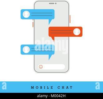 Chat mobile Concept, des notifications de message. Vector Illustration Banque D'Images