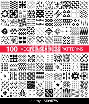 100 vector pattern géométrique transparente collection, modèles et universel 600x600 - Big Pack Banque D'Images