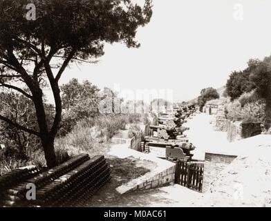 Années 1880, Gibraltar, batterie d'artillerie, de canons