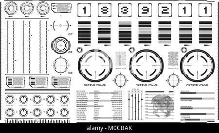 Interface hi-tech sur fond clair. Éléments de conception pour le hud, interface utilisateur, animation, motion design. Banque D'Images