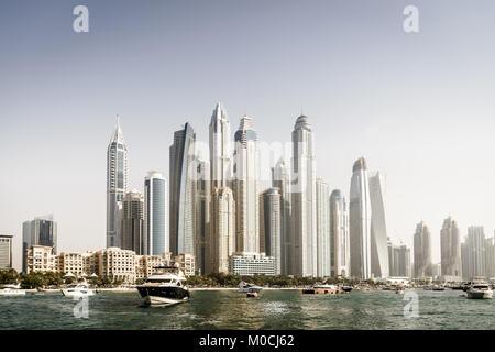 Vue sur la mer de la Marina de Dubaï, en 2017 Banque D'Images