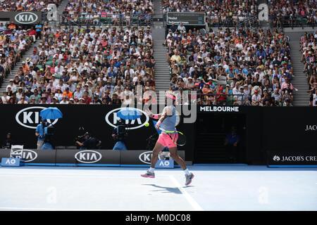 L'Australie. Jan 21, 2018. Joueur de tennis espagnol Rafael Nadal est en action au cours de son 4ème tour à l'Open Banque D'Images