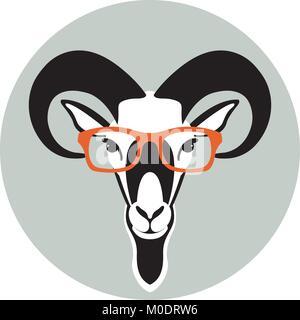 En face des moutons ram illustration vecteur lunettes avant de type télévision Banque D'Images