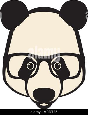 En face de panda plat à l'illustration vectorielle lunettes Banque D'Images