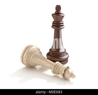 Roi d'échecs échecs et Reine , c'est un rendu 3d'image de synthèse. Isolé sur blanc. Banque D'Images