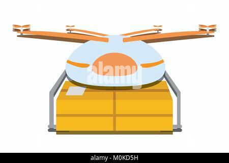 Illustration du drone de livraison en vol avec package, vecteur de drone paquet la livraison d'un produit/prestation Banque D'Images