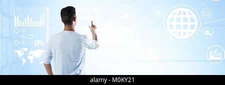 Man interface mur avec fond bleu Banque D'Images