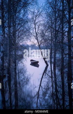 Paysage d'hiver avec le coucher du soleil et voile au soir en Finlande Banque D'Images
