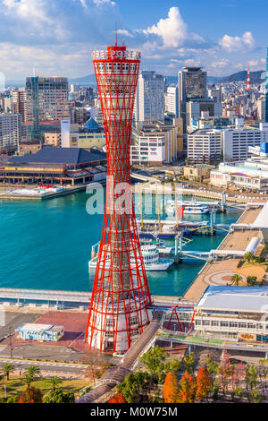KOBE, JAPON - 17 décembre, 2017; Kobe port Tower et d'horizon. Banque D'Images