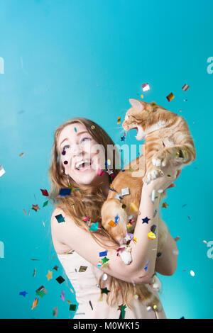 Surprise Party Cat Banque D'Images