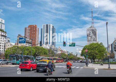 Argentine, province de Buenos Aires, Buenos Aires, l'Avenue 9 de Julio, l'avenue 9 de Julio Banque D'Images