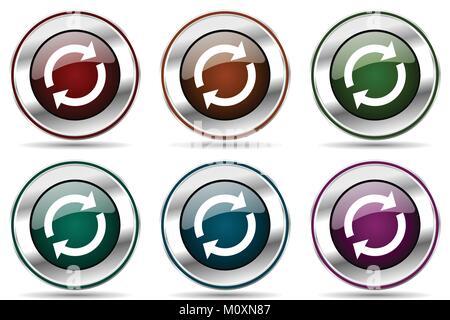 Vecteur Reload icon set. Chrome argent métallique icônes frontière pour la conception web et des applications smartphone Banque D'Images