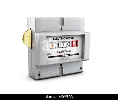 Compteur électrique avec coin isolé sur blanc. Les économies d'énergie concept. 3d illustration. Banque D'Images
