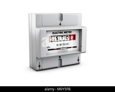 Compteur électrique isolé sur blanc. Les économies d'énergie concept. 3d illustration Banque D'Images