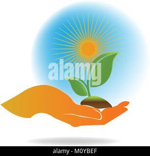 Usine de soins des mains , logo vector ecology concept Banque D'Images