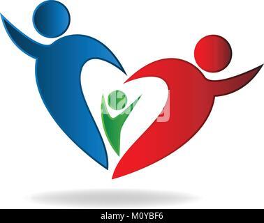 Logo coeur famille vector Banque D'Images