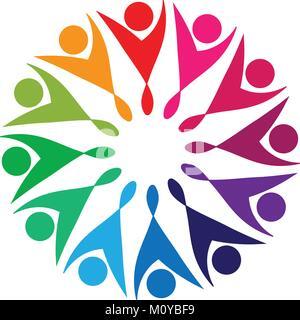 Les personnes faisant partie d'équipe un logo de forme fleur Banque D'Images