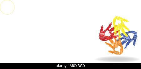 Logo Love mains imprimer vector Banque D'Images