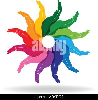 La diversité colorée mains personnes aider logo concept vector Banque D'Images