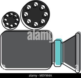 L'icône de caméra vidéo à l'aquarelle d'ossature Banque D'Images