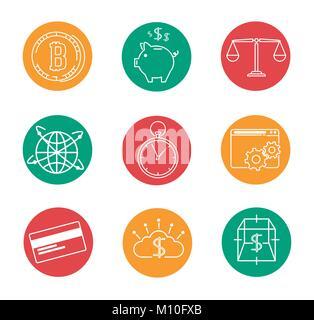 Ensemble de la technologie de l'Internet financier Investissement Fintech industrie icône vector illustration graphic Banque D'Images
