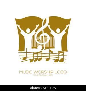Logo de la musique. Symboles chrétiens. L'adoration de Dieu, les gens et la clé de sol sur l'arrière-plan de la Bible