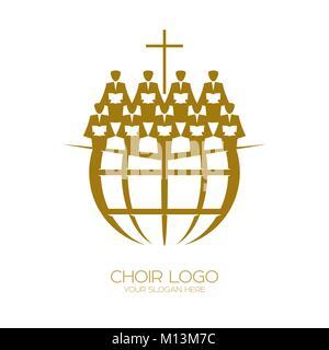 Logo de la musique. Symboles chrétiens. Un Chœur tout au long de l'éloge de la Terre Jésus Christ