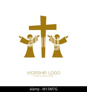 Logo de la musique. Symboles chrétiens. Les gens adorent Jésus Christ