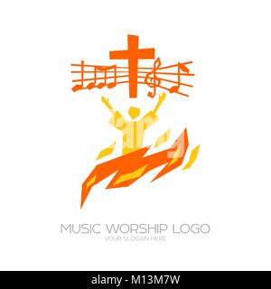Logo de la musique. Symboles chrétiens. Le croyant vénère Jésus Christ, chante la gloire de Dieu