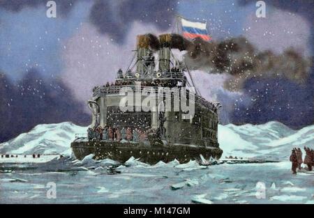 Guerre russo-japonaise (1904-1905). Le brise-glace Baïkal transporte des troupes russes sur le Lac Baïkal. Au sud de la Sibérie. La gravure à 'La Ilustracion Espanola y Americana', 1904. De couleur.