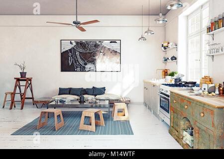 Design moderne cuisine intérieur. Concept de rendu 3D Banque D'Images