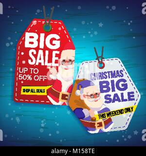 Vente de Noël Tags vecteur. Télévision Offre spéciale Noël autocollants. Le Père Noël. 50 sur le texte. Vente suspendu Banque D'Images