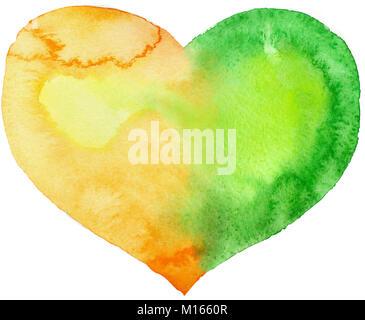 Coeur d'aquarelle avec l'ombre et la lumière, peint à la main Banque D'Images