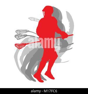 Silhouette sport Lacrosse player en concept rouge isolé sur fond blanc vector Banque D'Images