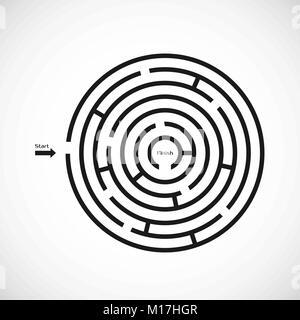 Labyrinthe Labyrinthe Résumé icône. Conception de forme de labyrinthe circulaire élément. Vector illustration isolé Banque D'Images