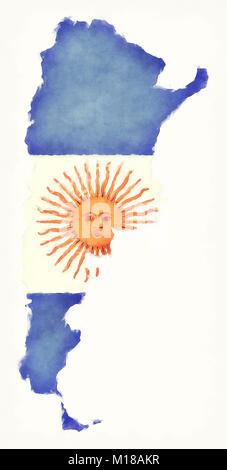 L'Argentine carte aquarelle avec drapeau national devant un fond blanc Banque D'Images