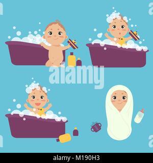 Enfant en mousse douche banque d 39 images photo stock - Laver un bebe dans une douche ...