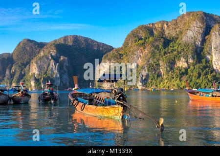 Île de Phi Phi, Krabi, Thaïlande 30 janvier 2016 longtail traditionnels bateaux amarrés à la plage de Ao Tonsai, sur Koh Phi Phi Don.