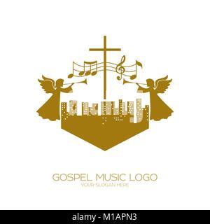Logo de la musique. Symboles chrétiens. Les gens de toutes les nations et nationalités de chanter une chanson d'adoration de Dieu.