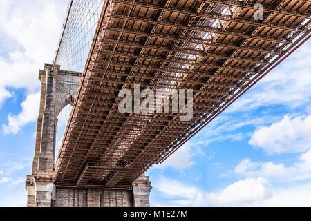 Libre de voir isolés sous pont de Brooklyn à l'extérieur extérieur extérieur dans NYC New York City, ciel bleu Banque D'Images