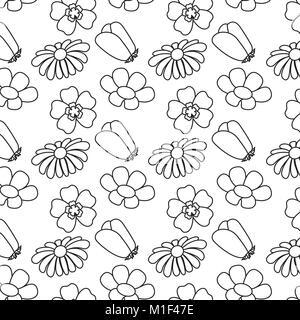 Modèle sans couture botanique naturel fleurs différentes Banque D'Images