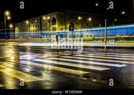 Poznan, Pologne, Grande Pologne. Jan 31, 2018. 31 janvier 2018 - Poznan, Pologne - Les paysages peints par les feux Banque D'Images