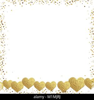 Carte de voeux de la Saint-Valentin avec cadre carré d'or et les confettis coeurs or. Vecteur. Banque D'Images